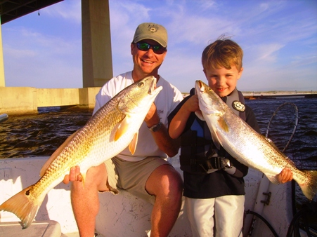Alabama inshore fishing for Speckled Trout and Redfish with Families